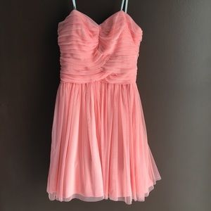 Peach Tulle covered strapless dress